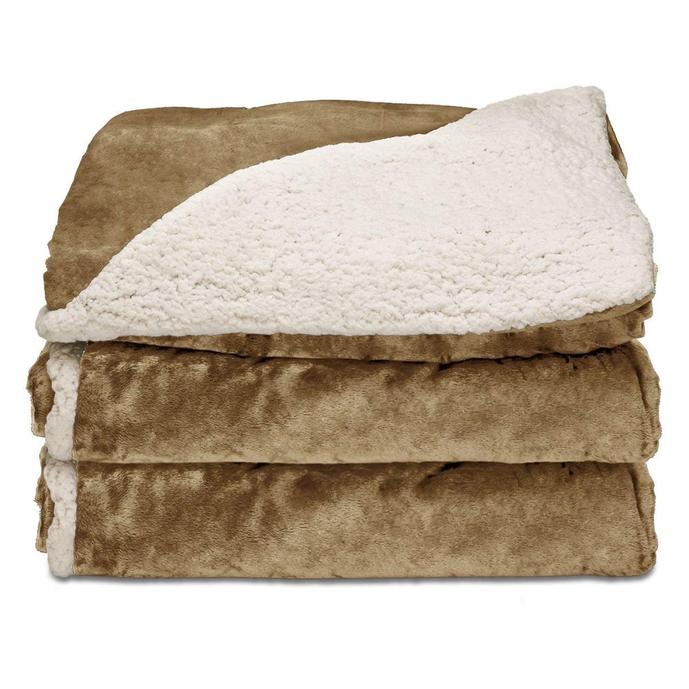 Sunbeam Reversible Sherpa/RoyalMink Heated Throw Blanket